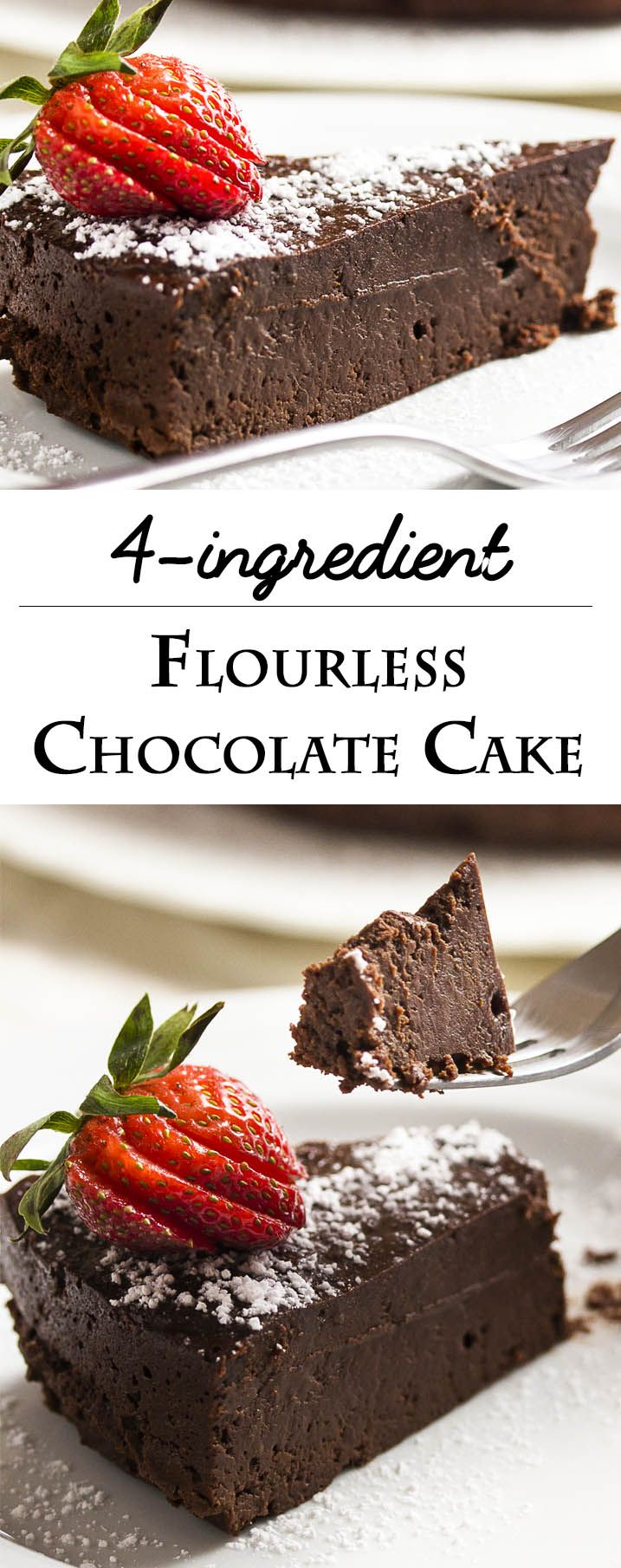This easy flourless chocolate cake is amazingly dense, rich and decadent. Every bite is packed with intense bittersweet chocolate flavor.
