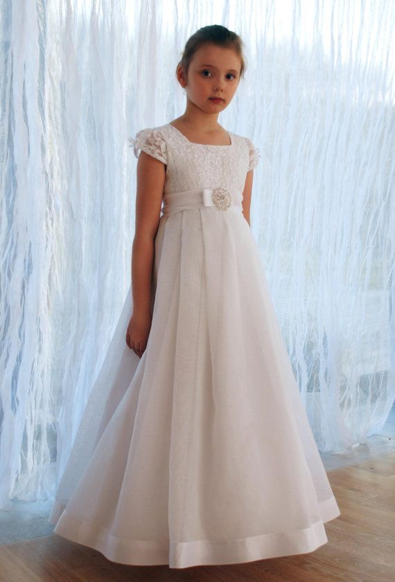 Communion dress in white with a beautiful brooch by MonikaVenika