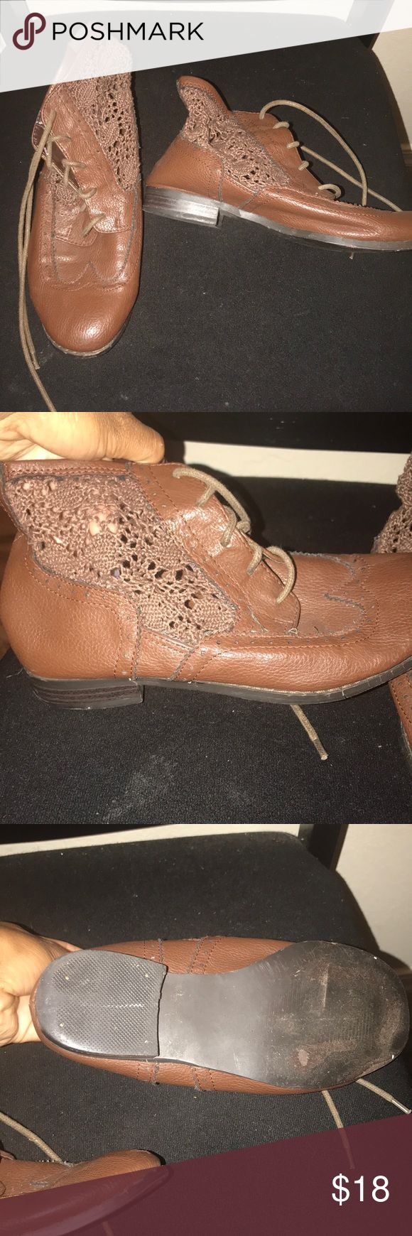Brown two-toned ankle booties Good condition. Haven't worn these since college in 2014. Still some wear in them. These booties are two toned of faux leather and cotton like material. These booties remind me of Peter Pan lol They are cute to wear in the fall paired with jeans and a stylish hat. Forever 21 Shoes Ankle Boots & Booties