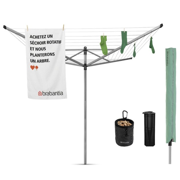 806599 - Brabantia Lift-O-Matic Rotary Airer 50 Metres w/ Spear Cover, Pegs & Bag - QVC PRICE: £90.00 + P&P: £0.00  The Lift-O-Matic from Brabantia is a rotary airer that adjusts seamlessly to your ideal working height. With drying arms that turn smoothly even when fully loaded with wet washing, plus a sturdy hanging loop for easy storage, this airer is makes laundry much more manageable and, dare we say, enjoyable?
