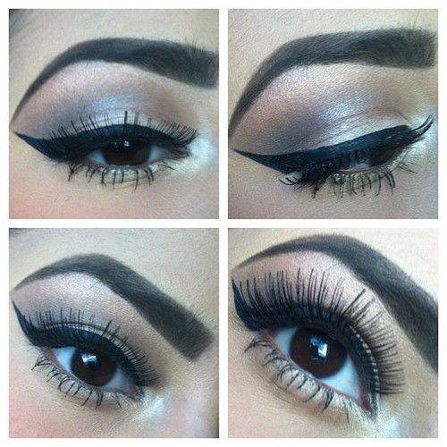 Winged eyeliner with silver eye shadow.