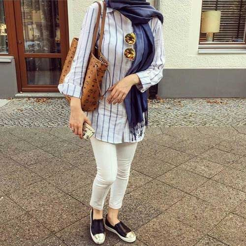 striped-shirt-hijab-outfit- Ootd hijab styles http://www.justtrendygirls.com/ootd-hijab-styles/