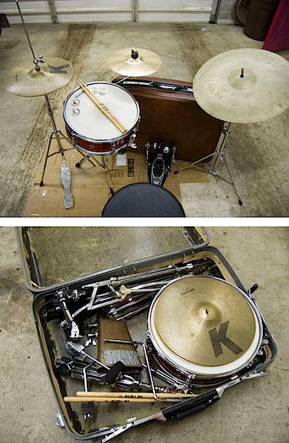 Mike Reetz writes: I love drumming, but hate transporting my whole set around, so I designed a drum kit using a suitcase as the bass drum. The whole set fi