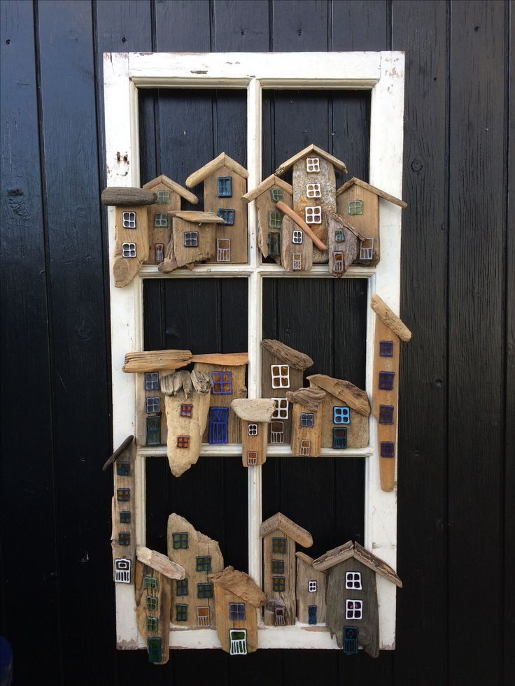 Old window idea with driftwood.