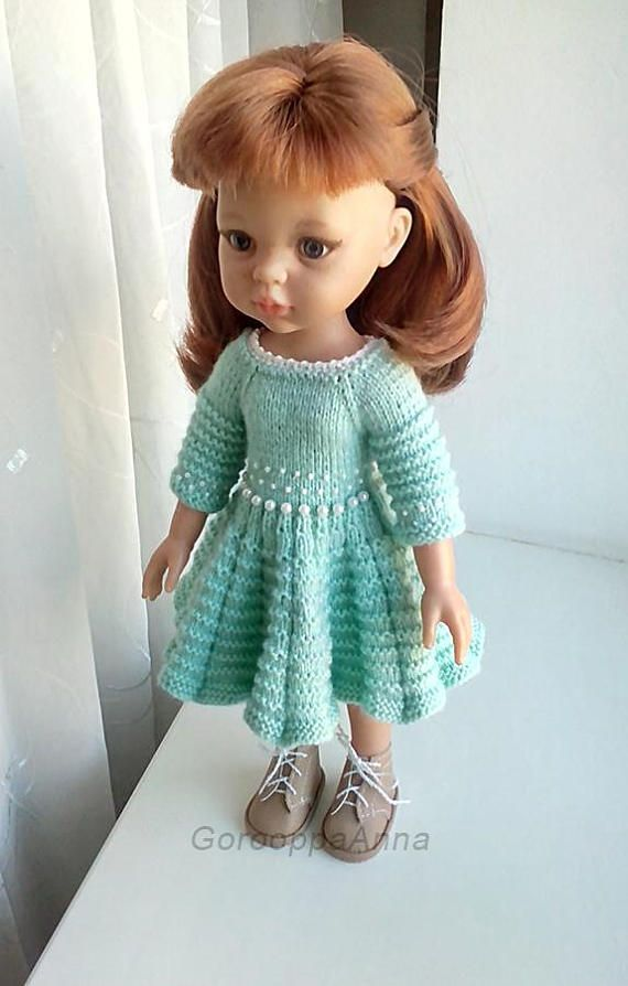 Knit Dress for Paola Reina, Antonio Juan Munecas, Corolle Les Cheries and fit similar 13 dolls. The Dress knitting from mixed yarn: Wool: 40%, Acrylic: 40%, Bamboo: 20% The doll dress is embroidered with beads Clasp - 5 buttons. All hand made by me. Doll and shoes not included.