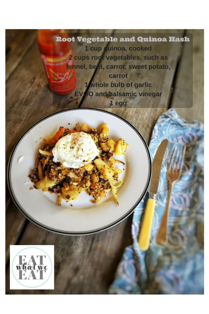 Root Vegetable and Quinoa Hash: a delicious brunch dish with roasted vegetables. Quinoa becomes crunchy and chewy when fried. Great way to use leftovers.