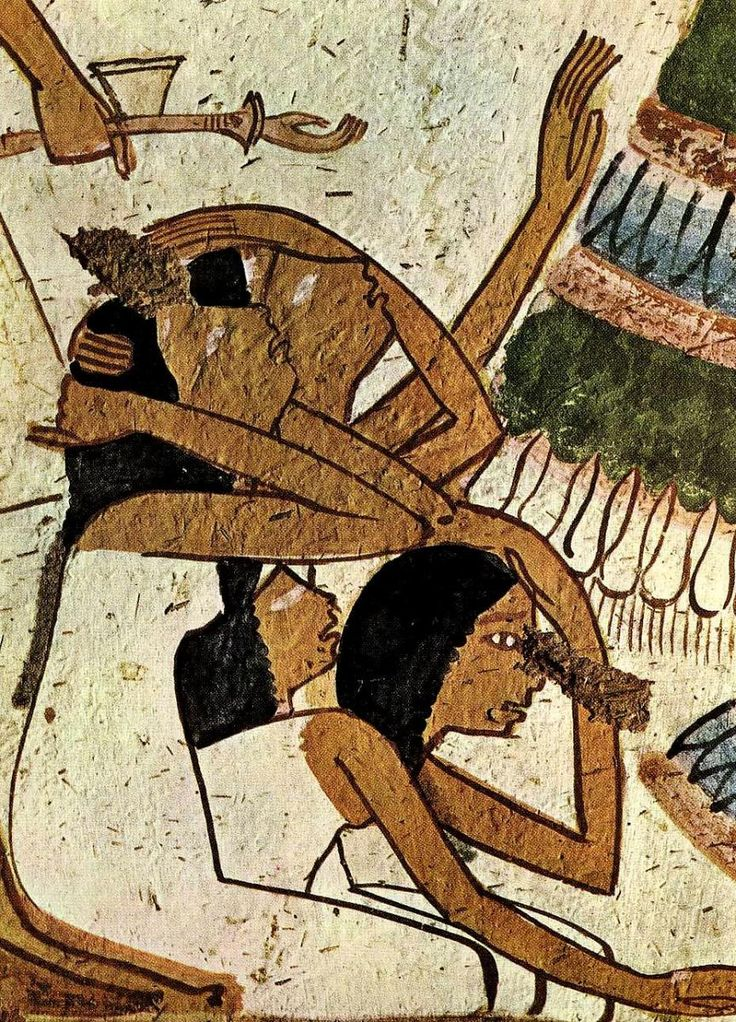 Mourning wall painting tomb userhet thebes detalhe de uma for Egyptian mural art