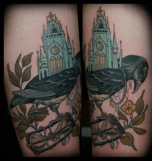 this piece is amazing . the pleasant little castle with a beautifully drawn bird standing on time<3
