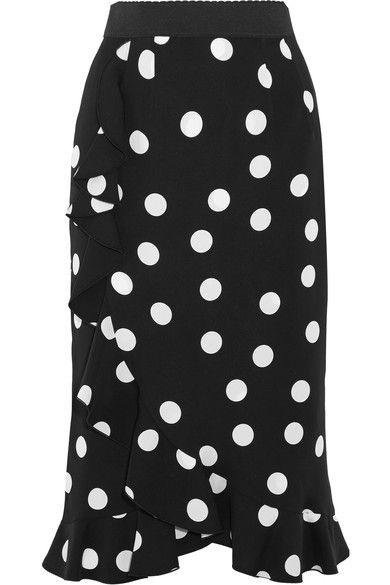 Dolce & Gabbana - Ruffled Polka-dot Stretch-silk Charmeuse Skirt - Black - IT48