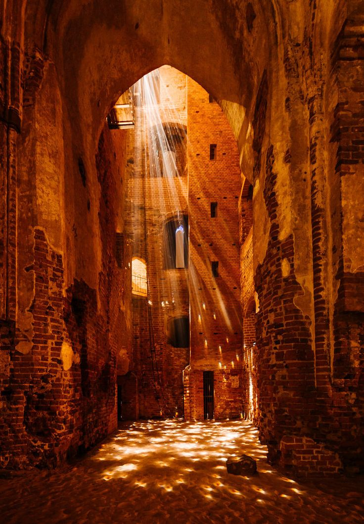 Light installation in medieval cathedral ruins -Tartu Cathedral, Estonia