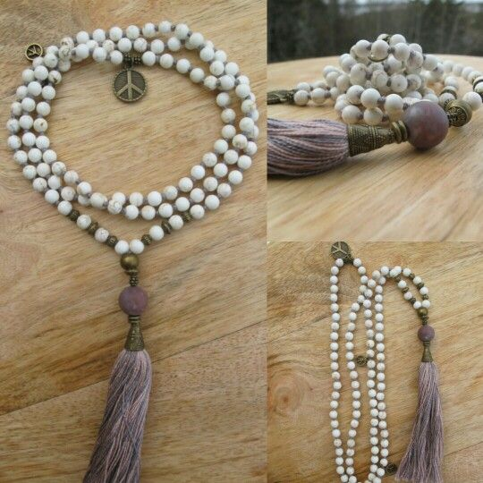 White Turquoise with pink/purple tassel and peace sign in the neck. Malabead necklace