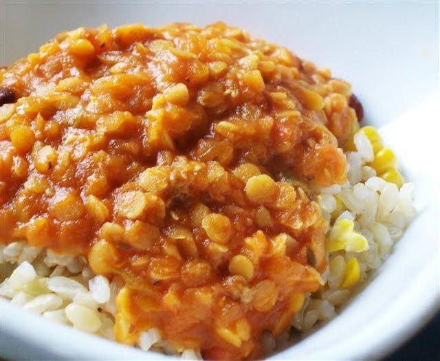 Quirky Cooking: Lentil Bolognese - onion, garlic, carrot, celery, oil, tomatoes, red lentils, semi dried tomato strips, water, stock, tomato paste, rapadura, oregano, basil, salt, pepper