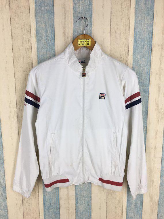 281bc78987 Vintage 90 s FILA Windbreaker Jacket Ladies Small White Track Top Sport  Trainer Fila Sportswear Windrunner Crop Jacket Size S