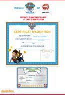 Certificat adoption - Paw Patrol