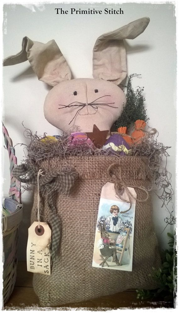 Primitive Easter Bunny in a Burlap Sack by ThePrimitiveStitch, $28.25