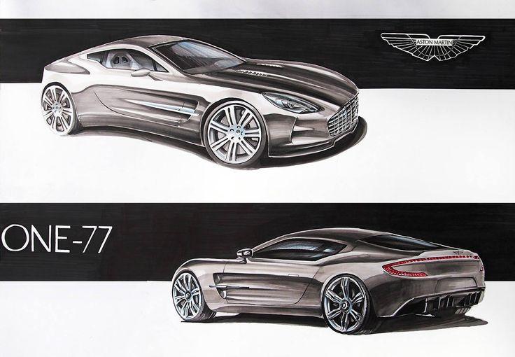 Aston Martin one-77 markers 70x50cm drawn in 2013  by Michał Burakowski