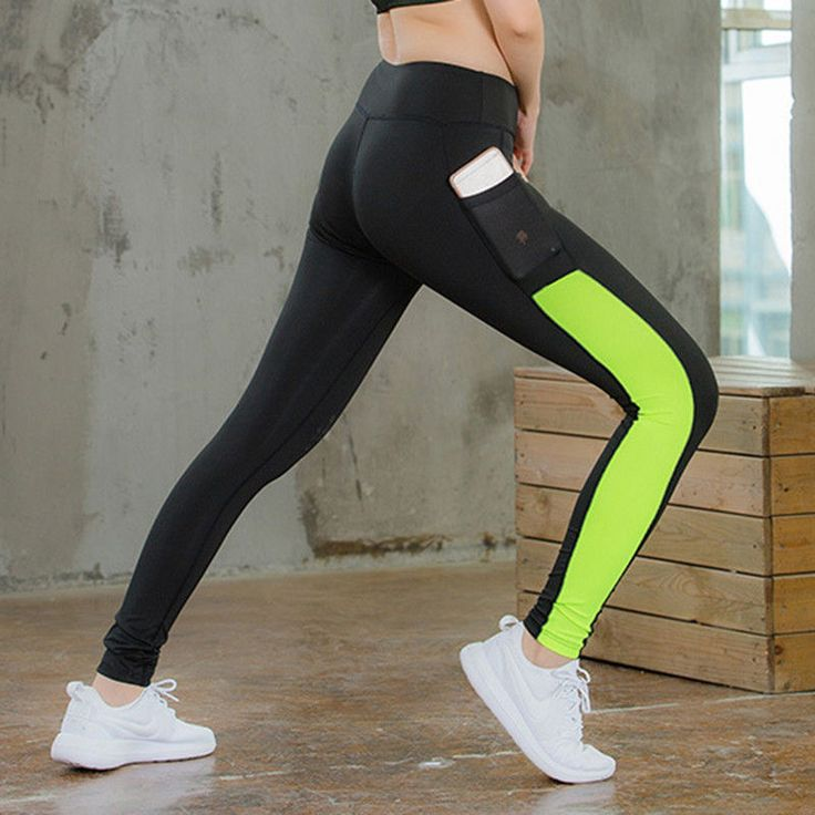 Us Women Sports Gym Yoga Leotards Stretch Pants Pocket Fast-Dry Workout Fitness