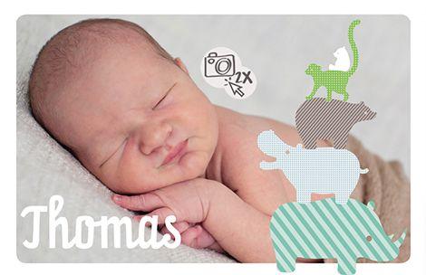 Een geboortekaartje met grote foto van het kleine wondertje zelf. Aan de rechterzijde van de kaart staat een torentje van dieren.