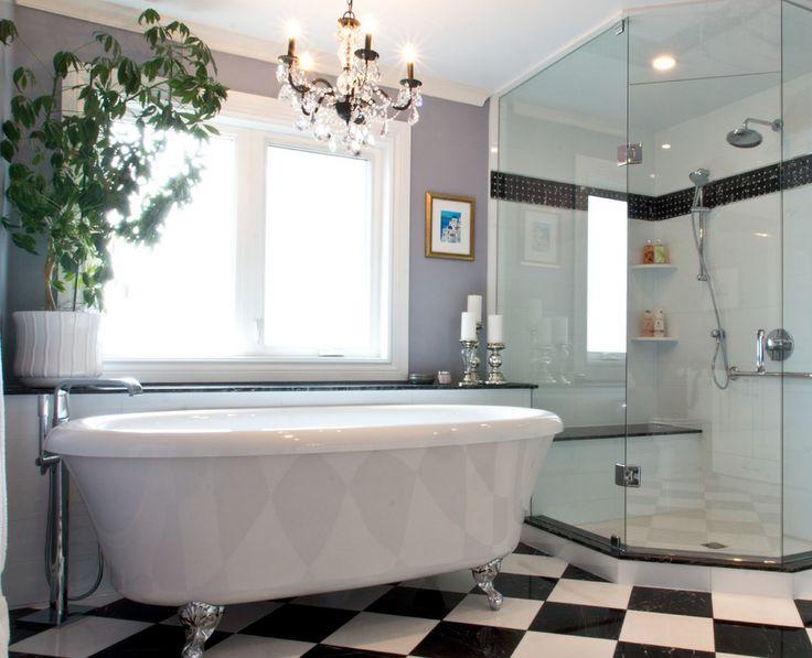Chic Black And White Bathroom Designed With Our @BainUltra Balneo Cella  Freestanding Bathtub