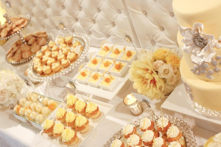 sophisticated pale yellow and white dessert table