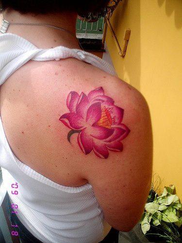 Pink Lotus Tattoo Design on Shoulder Back