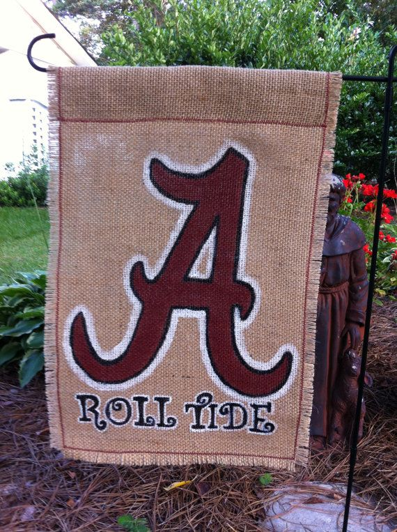 Alabama Roll Tide Burlap Garden Flag by aDOORnaments on Etsy, $28.00