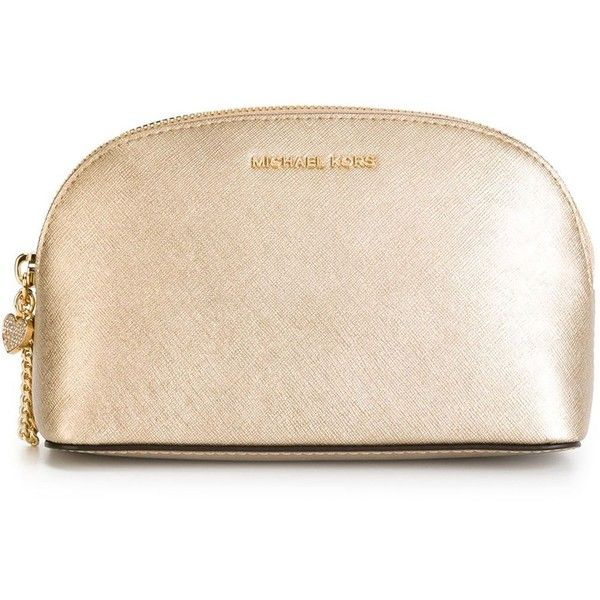 Michael Michael Kors Alex Make-Up Bag ($85) ❤ liked on Polyvore featuring beauty products, beauty accessories, bags & cases, bags, beauty, makeup, filler, make up bag, metallic and toiletry kits