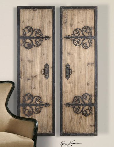 Old World Tuscan Decor | Old World Tuscan Rustic Wood Panels Set/2 Metal Accents