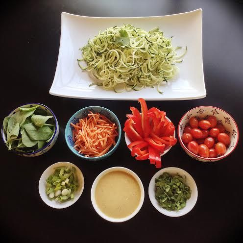 Raw Vegan Zucchini Noodle Salad Buffet - Peaceful Dumpling