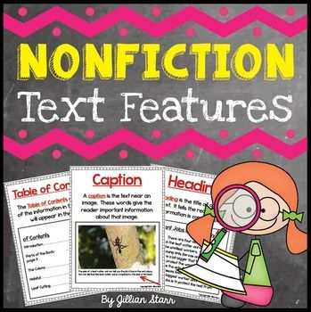 The Common Core is shifting attention to nonfiction texts.  Get ready to explicitly teach young readers the features of nonfiction texts with these classroom reference posters and activities.  INCLUDED IN THIS PRODUCT:Background & recommendations for selecting appropriate non-fiction texts7 Posters that provide text feature definitions and images     1.Photograph     2.Diagram     3.Caption     4.Heading     5.Index     6.Glossary     7.Table of ContentsNon-Fiction Text Features ...