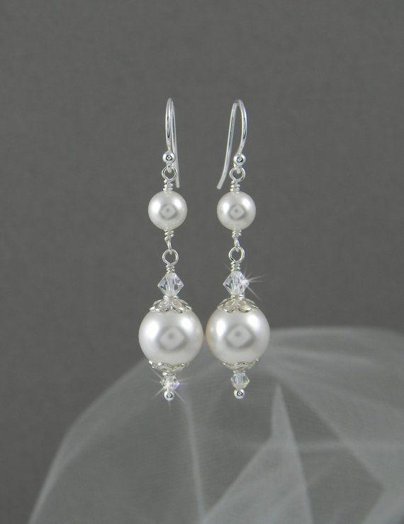 Bridal Earrings Long Dangle Pearl wedding by CrystalAvenues