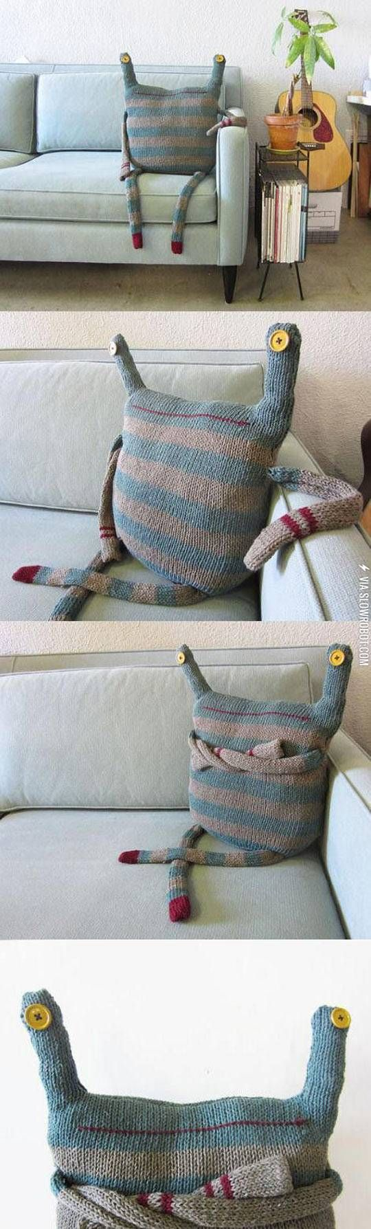 This pillow. I'm not sure why I like this so much.  Re purpose a sweater!