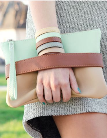 love this mint and brown clutch