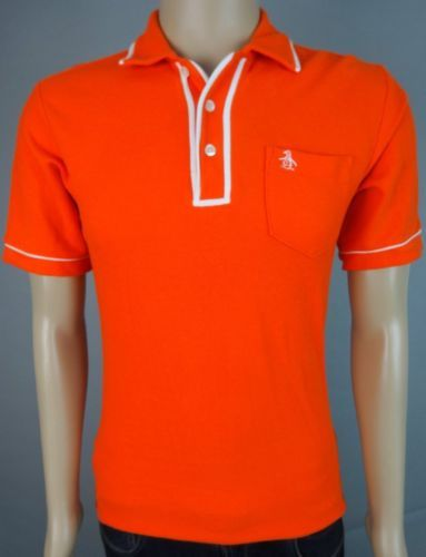 An-Original-Penguin-Mens-Size-Medium-Orange-Short-Sleeve-Polo-Shirt