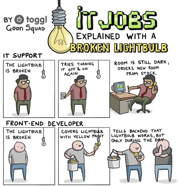 IT Jobs Explained With A Broken Lightbulb [Comic]