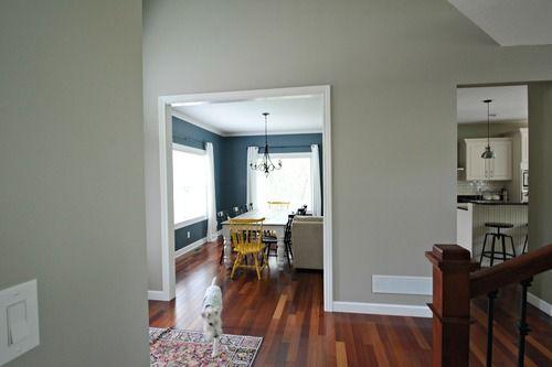 Mindful Gray - Sherwin Williams. Looks good with Jatoba flooring.