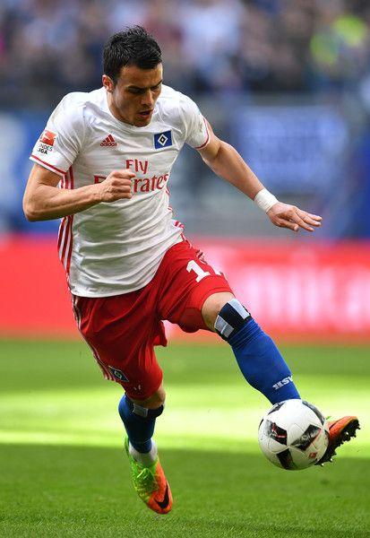 Filip Kostic of Hamburg in action during the Bundesliga match between Hamburger SV and SV Darmstadt 98 at Volksparkstadion on April 22, 2017 in Hamburg, Germany.