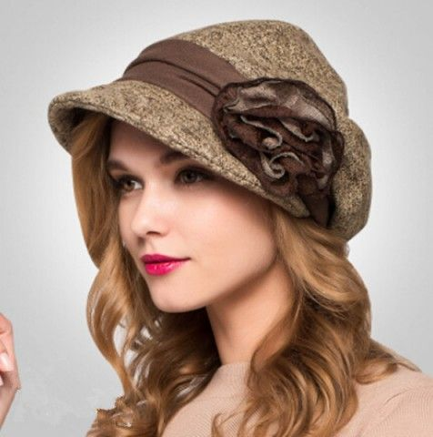 Elegance flower beret hat for women fashion wool winter hats