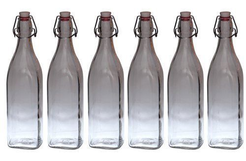 6er Set Glasflaschen Serie Swing mit Bügelverschluss 1,00 Liter