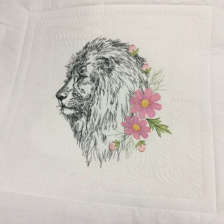 Lion and cosmos flowers by stitchdelight.net
