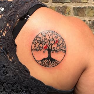 Celtic tree of life with cardinals