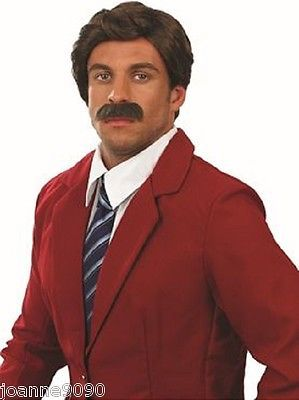 Mens #anchorman wig and tash moustache 60s 70s ron #burgundy fancy dress #costume,  View more on the LINK: http://www.zeppy.io/product/gb/2/351023868384/