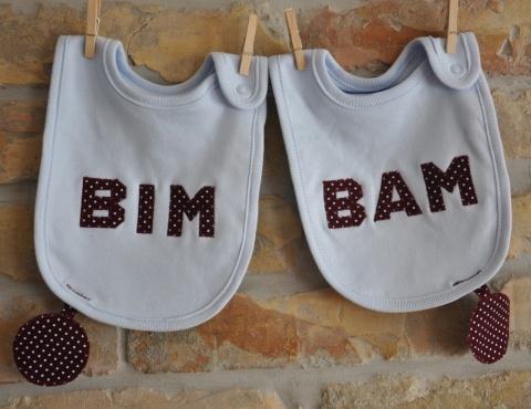 BIM-BAM előke ikreknek, ikerbababolt.meska.hu