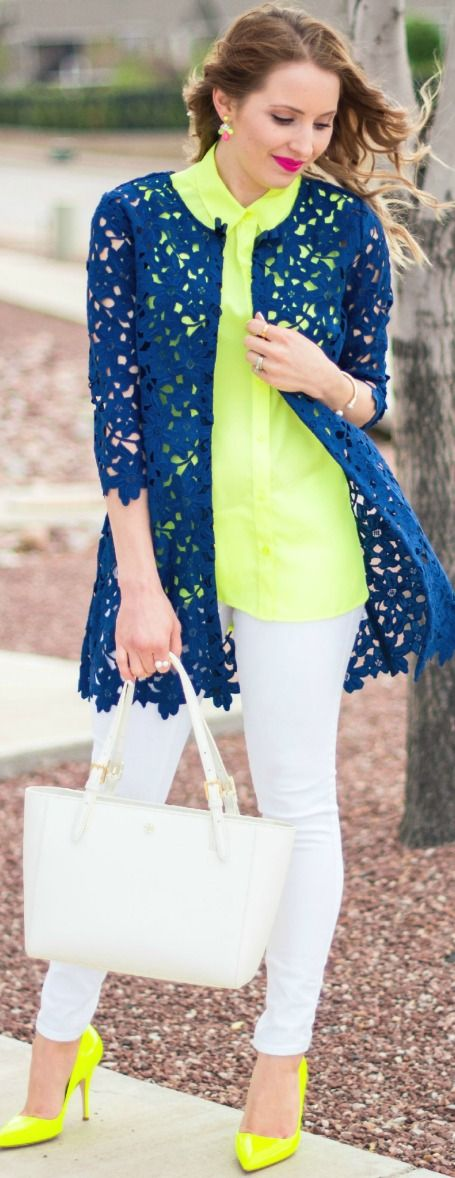 Neon and Lace Outfit for Spring/Summer ( white skinny jeans, blue lace coat, neon yellow top, kate spade licorice too neon yellow pump, Tory Lurch Small Buckle Tote )