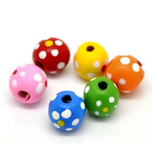 """Image of 100PCs At Random Dyed Dot Round Wood Spacer Beads 13mm48"""" Dia."""