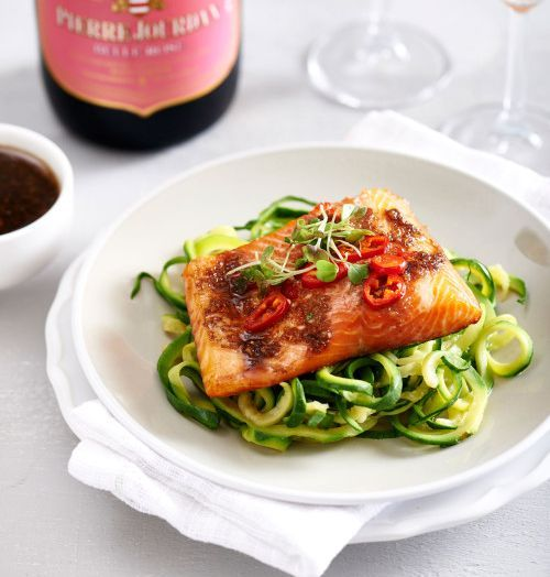Courgetti with Grilled Trout and Asian Dressing recipe