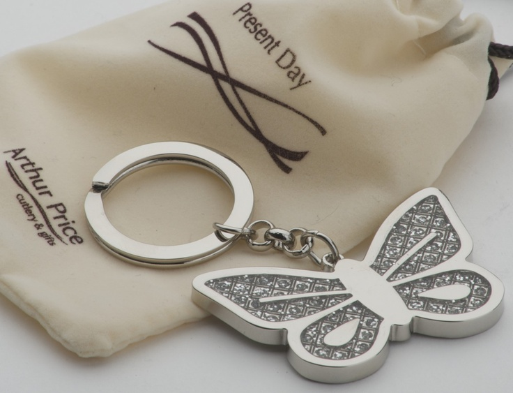 butterfly diamante keyring