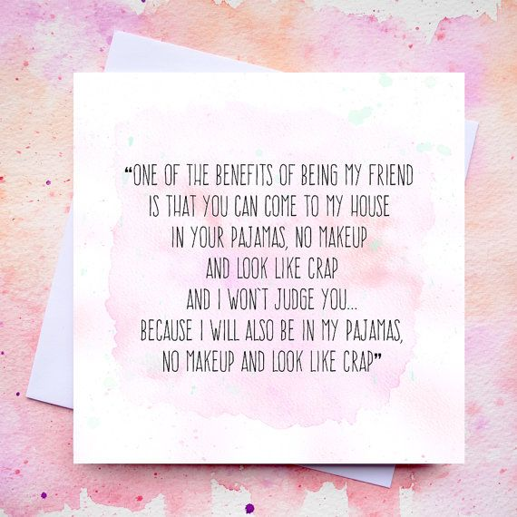 funny friendship quote card best friends no makeup blank
