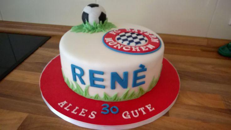 FC Bayern Torte  kuchen deko  Pinterest  Fondant torten