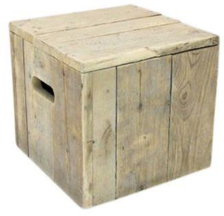 Kubus/kruk van oud steigerhout Afmetingen: B40xD40xH43cm  (19720131452)